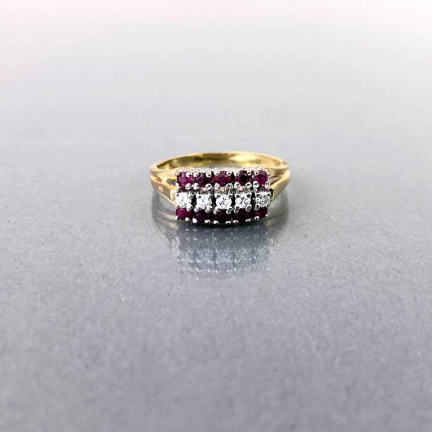 Elegant ladies ring with ruby and diamonds. Yellow Gold / White Gold 585. - photo 5