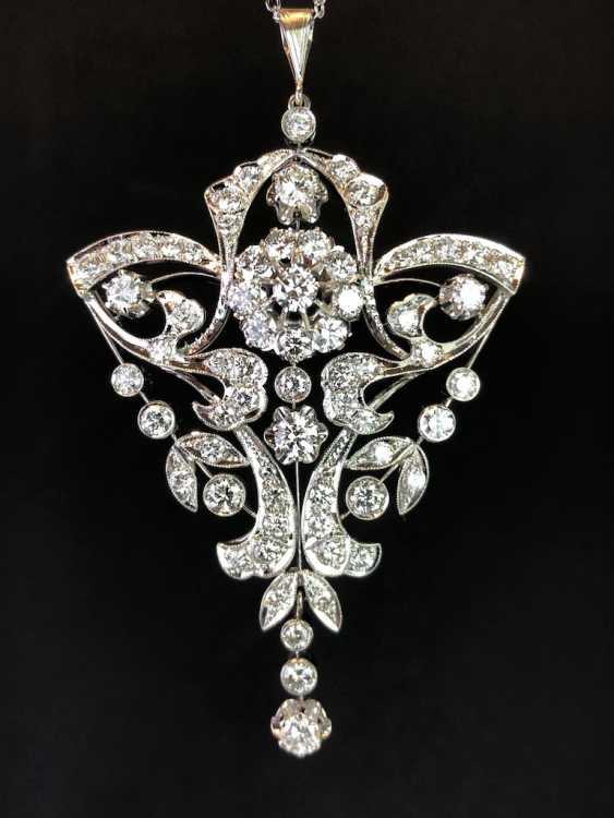 Sensational necklace pendant: white gold rhodium plated. 10 carat brilliant-67 stones of very good quality. - photo 1
