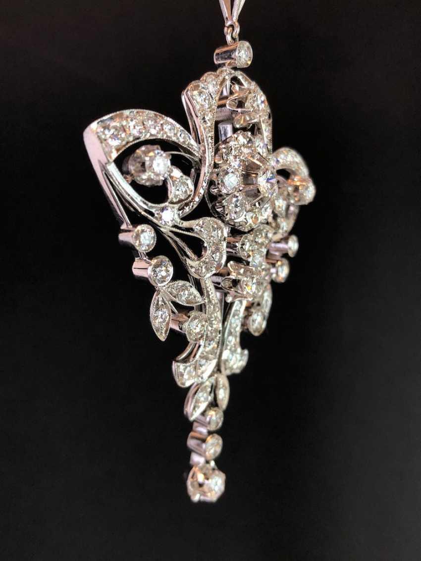 Sensational necklace pendant: white gold rhodium plated. 10 carat brilliant-67 stones of very good quality. - photo 2