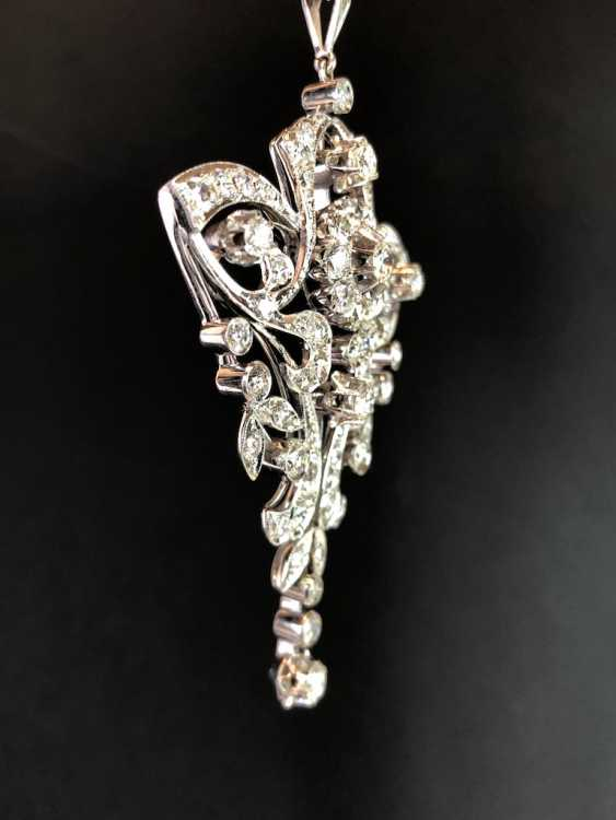 Sensational necklace pendant: white gold rhodium plated. 10 carat brilliant-67 stones of very good quality. - photo 3