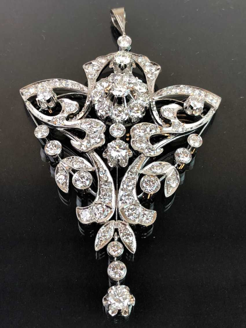 Sensational necklace pendant: white gold rhodium plated. 10 carat brilliant-67 stones of very good quality. - photo 7