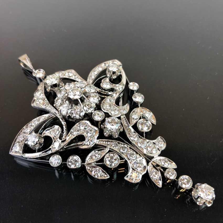 Sensational necklace pendant: white gold rhodium plated. 10 carat brilliant-67 stones of very good quality. - photo 8