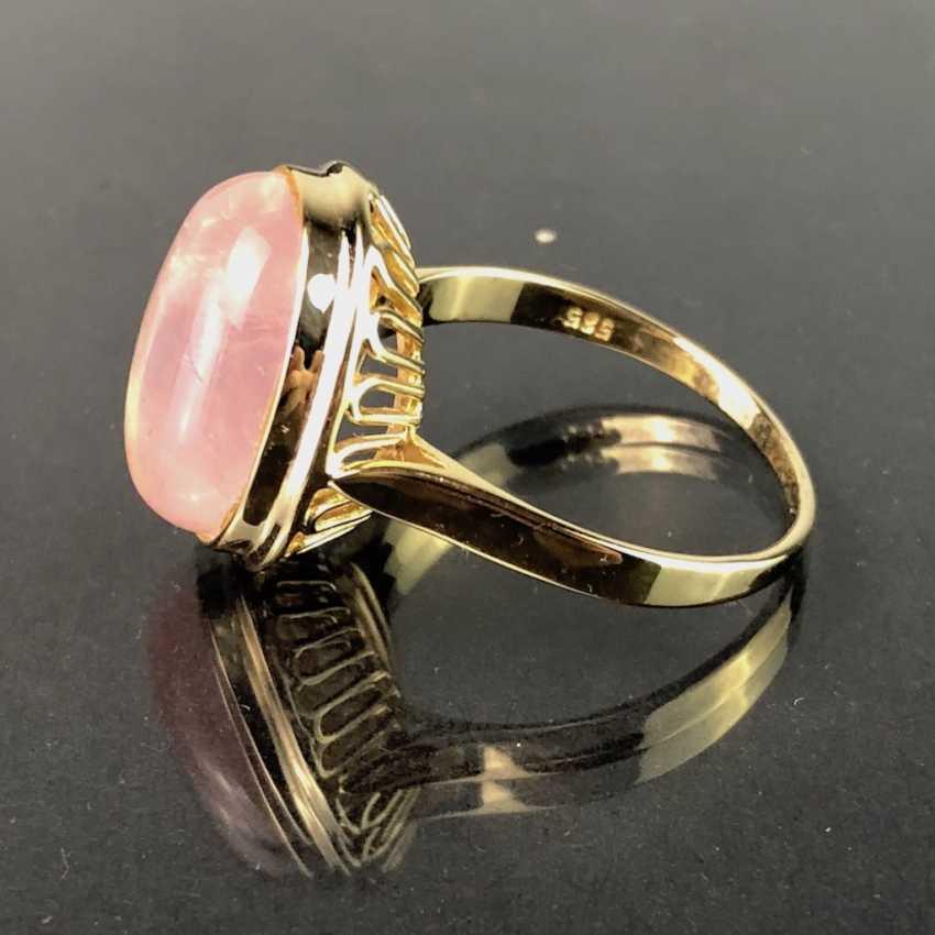 Bague dame avec quartz rose. En or jaune 585. Il est très beau. - photo 1