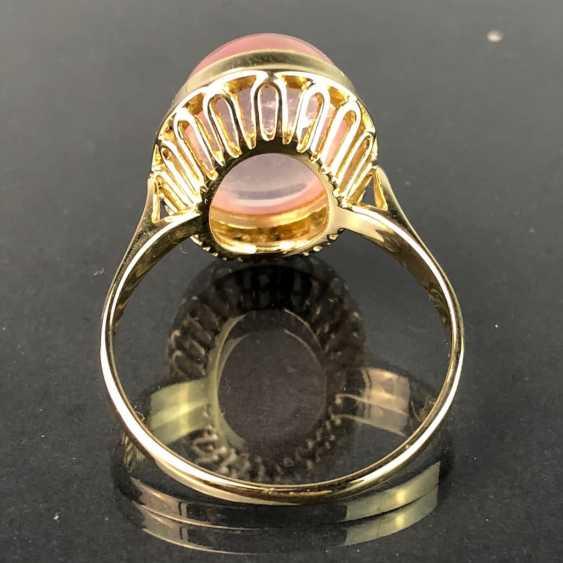 Дамы кольцо с розовым кварцем. Желтое золото 585. Очень красиво. - фото 2
