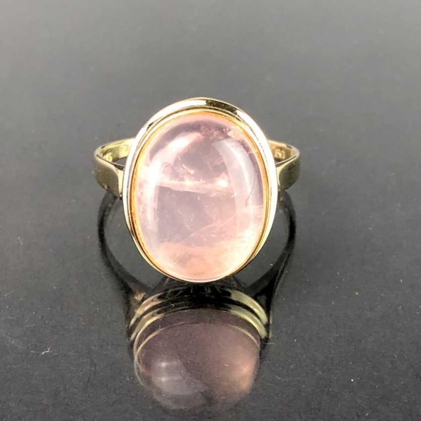 Bague dame avec quartz rose. En or jaune 585. Il est très beau. - photo 3