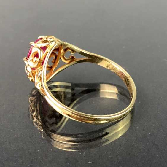 Bague dame avec Rubin, plus de 1 Carat. En or jaune 585. Il est très beau. - photo 3