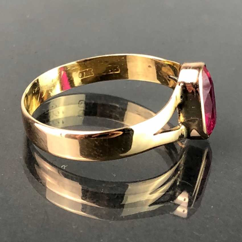 Ladies ring with ruby, approx. 1 carat. Yellow gold 585. Very nice. - photo 2