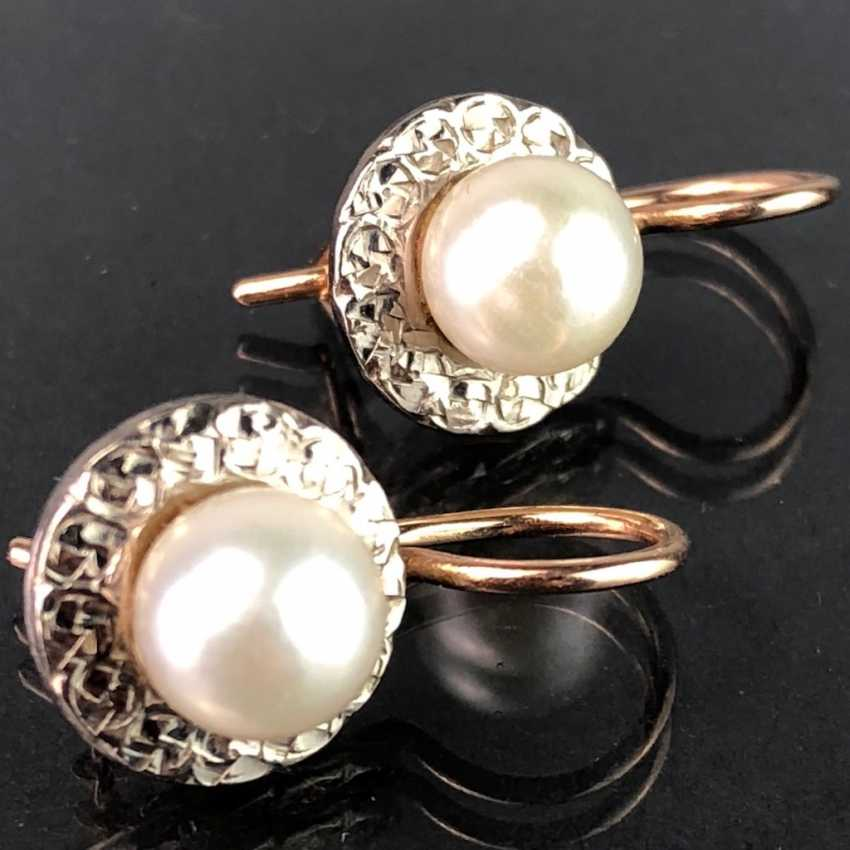 Elegant earrings: white gold / RG 585 with pearl, very beautiful. - photo 1