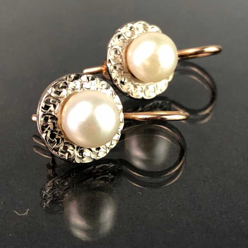 Elegant earrings: white gold / RG 585 with pearl, very beautiful. - photo 2