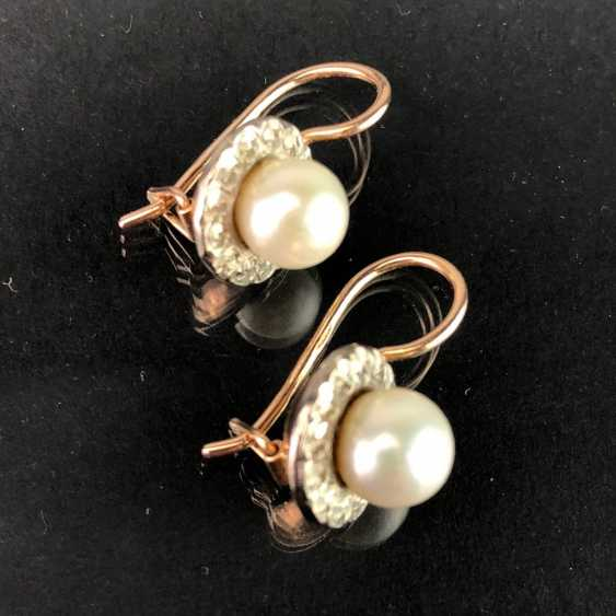 Elegant earrings: white gold / RG 585 with pearl, very beautiful. - photo 3