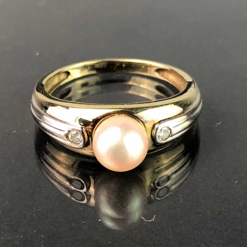 Elegant ladies ring with pearl and diamonds. Yellow Gold / White Gold 585. Very nice. - photo 1