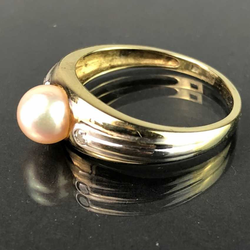 Elegant ladies ring with pearl and diamonds. Yellow Gold / White Gold 585. Very nice. - photo 2