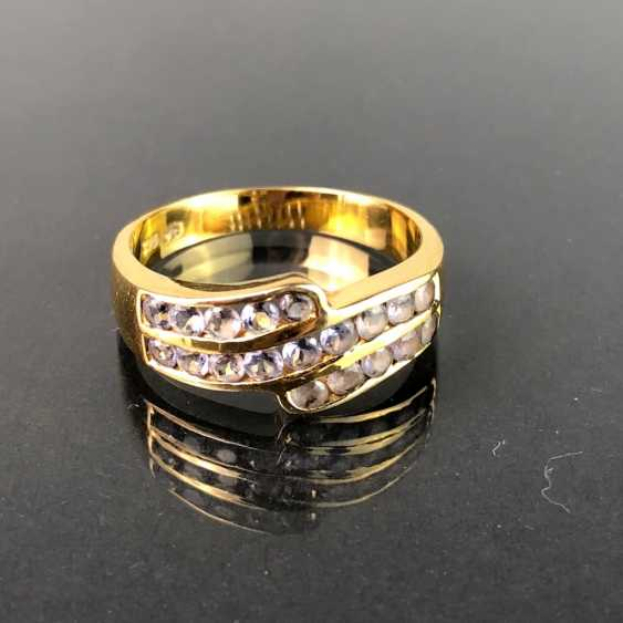Ladies ring with Safiren. Yellow gold 375. Very nice. - photo 1