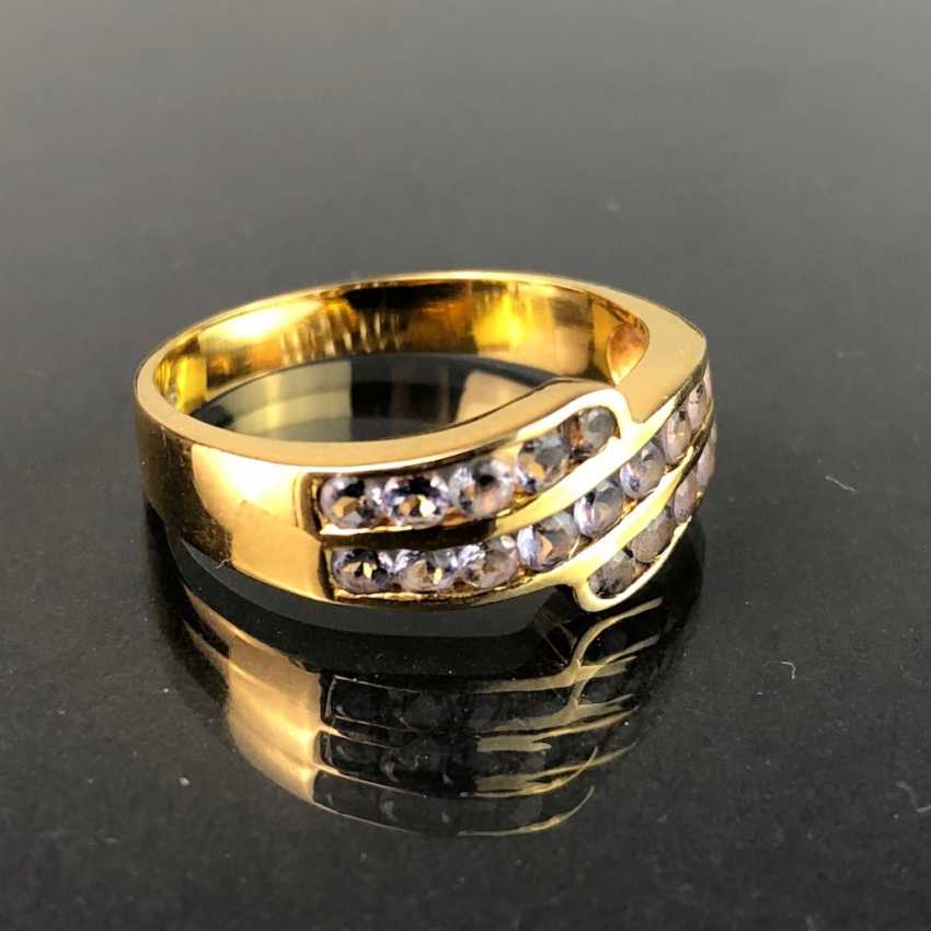 Ladies ring with Safiren. Yellow gold 375. Very nice. - photo 2
