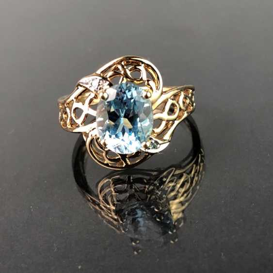 Ladies ring with Topaz of approx. 3 carats. Yellow gold 333. Very nice. - photo 1