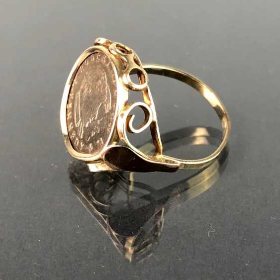 """Ladies ring with coin """"Robert F. John F Kennedy"""". Version Yellow Gold 333. - photo 2"""