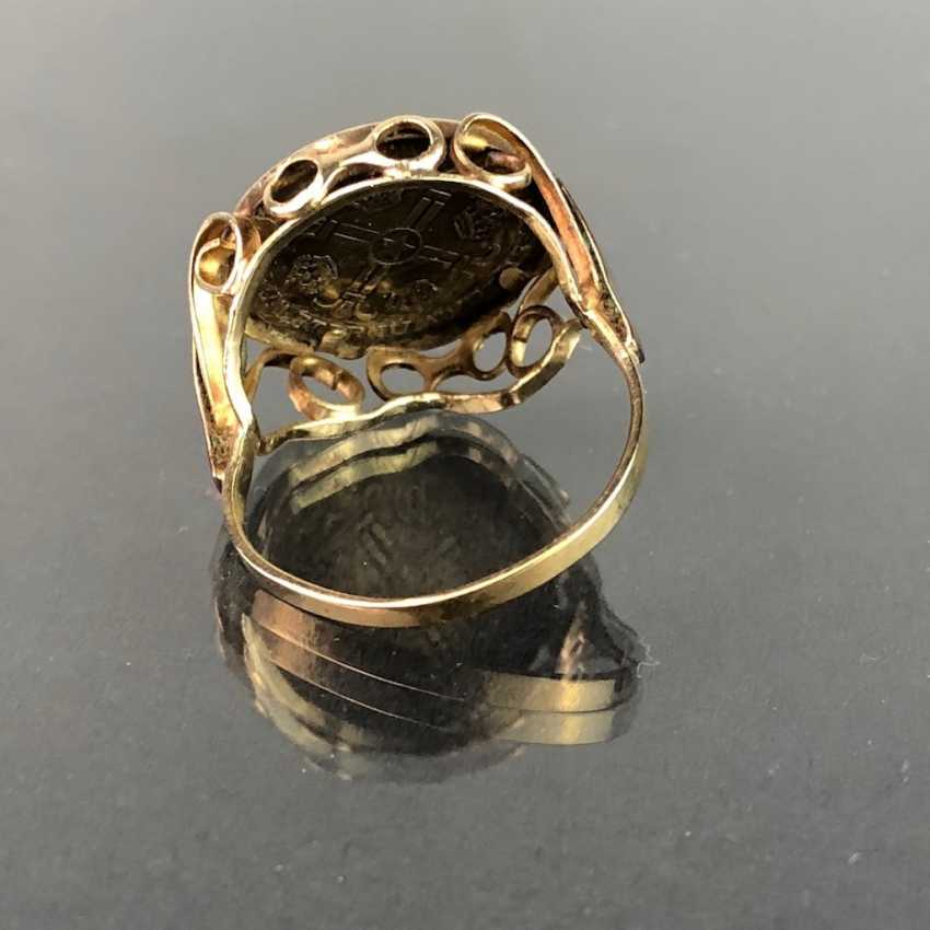 """Ladies ring with coin """"Robert F. John F Kennedy"""". Version Yellow Gold 333. - photo 3"""