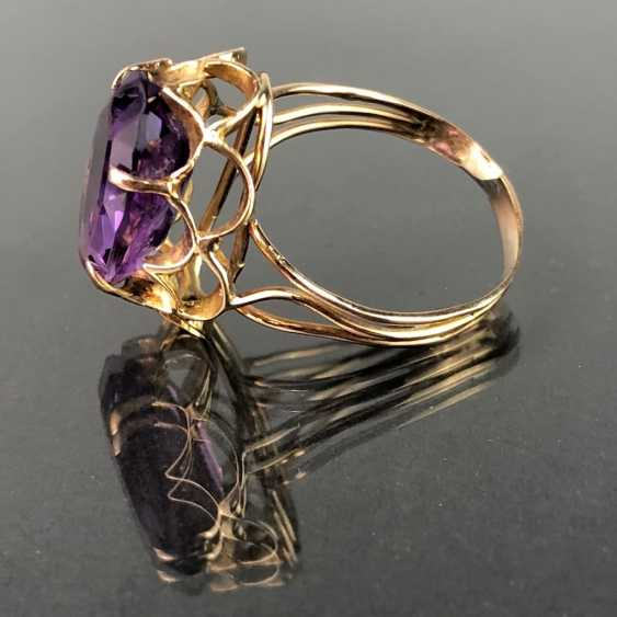 Ladies ring with a large Amethyst. Yellow gold 585. Very nice. - photo 2