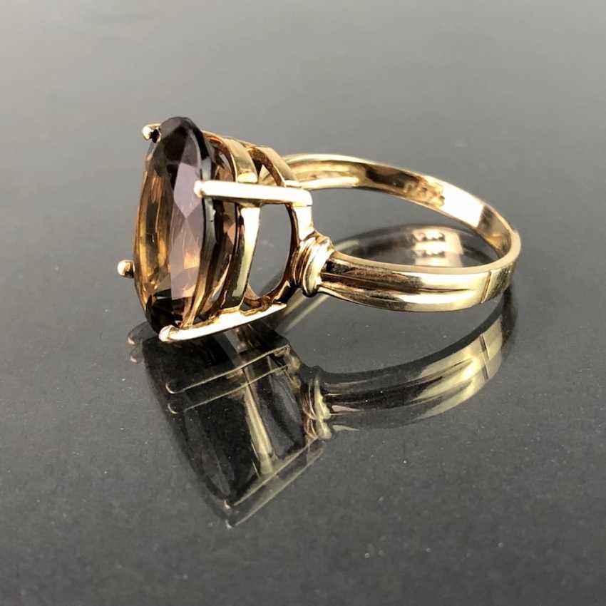 Timeless ladies ring with smoky quartz. Yellow gold 375. Very nice. - photo 1