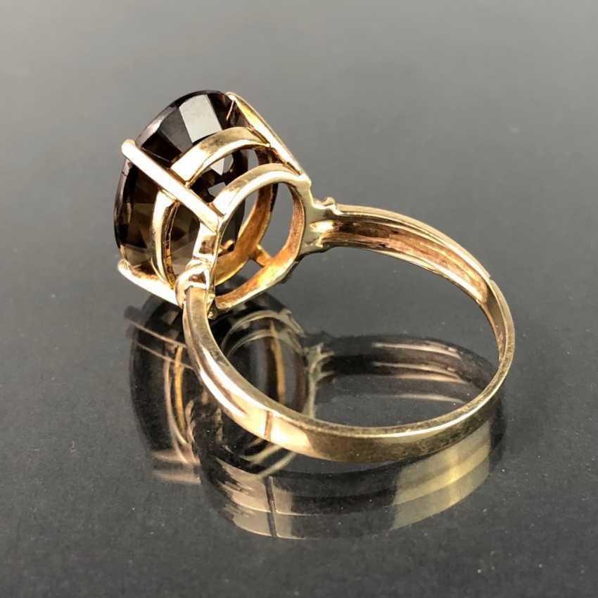 Timeless ladies ring with smoky quartz. Yellow gold 375. Very nice. - photo 2