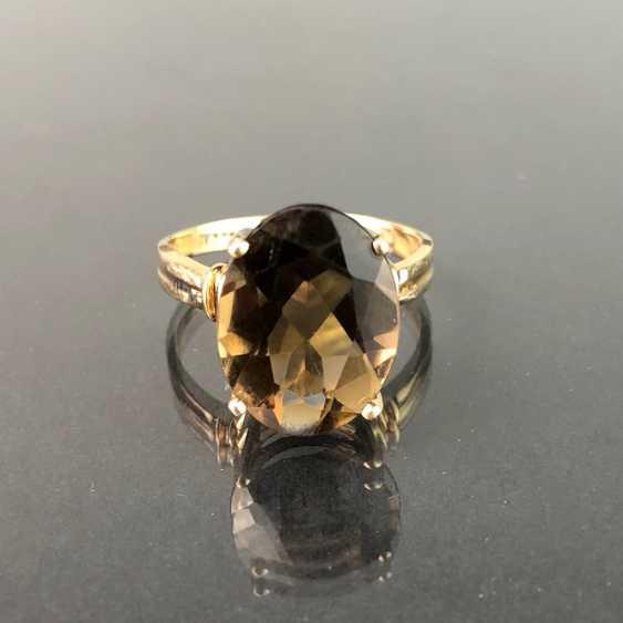 Timeless ladies ring with smoky quartz. Yellow gold 375. Very nice. - photo 3