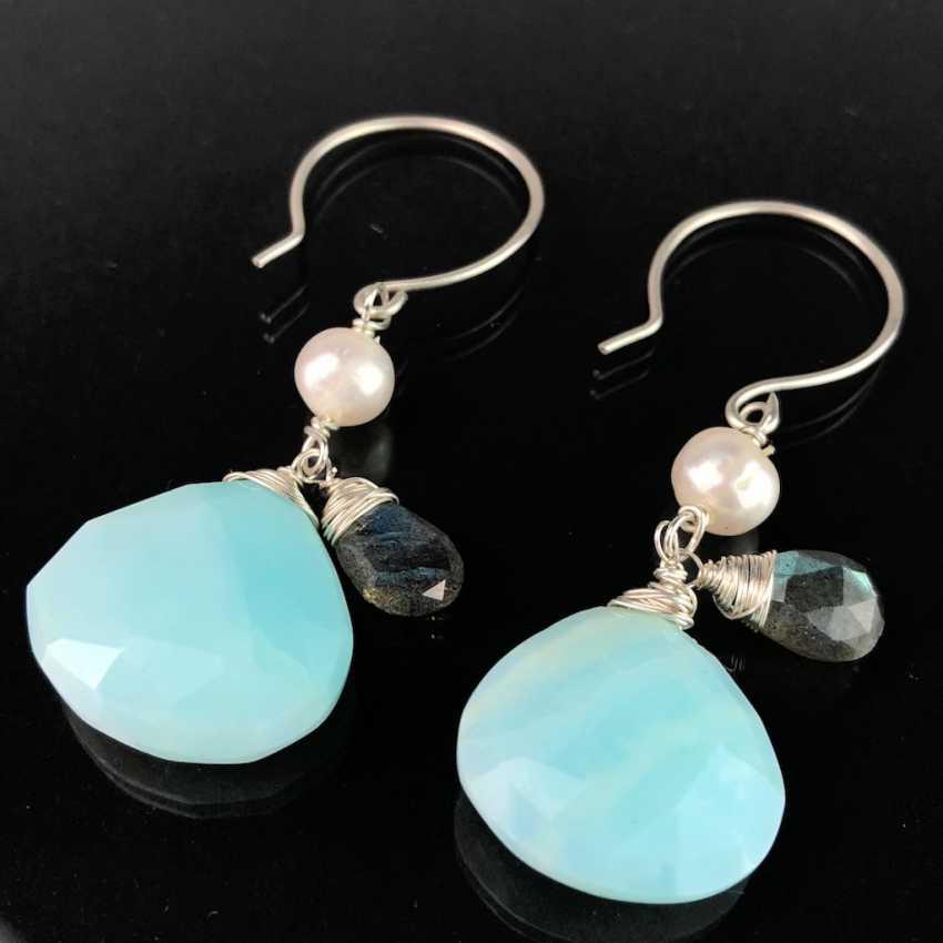 Esthétique, des Boucles d'oreilles avec Opale, quartz fumé et Perles. D'argent. - photo 1