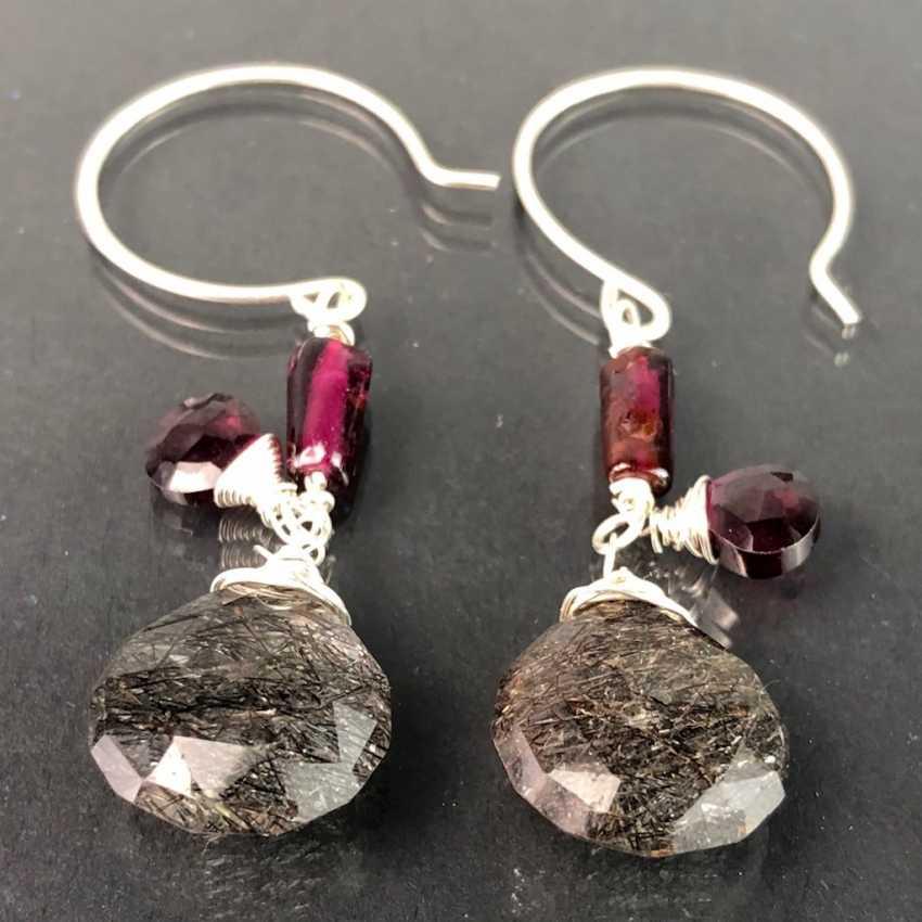 Beautiful earrings with rutilated quartz and garnet. Silver. - photo 1