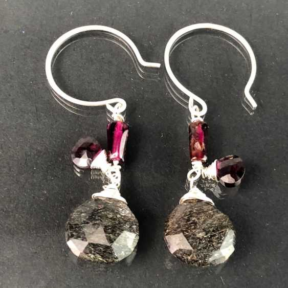 Beautiful earrings with rutilated quartz and garnet. Silver. - photo 2
