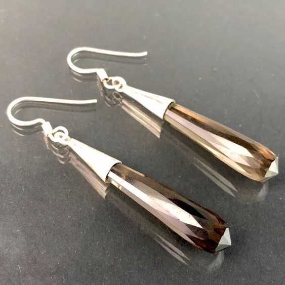 Beautiful earrings with smoky quartz. Silver. - photo 1