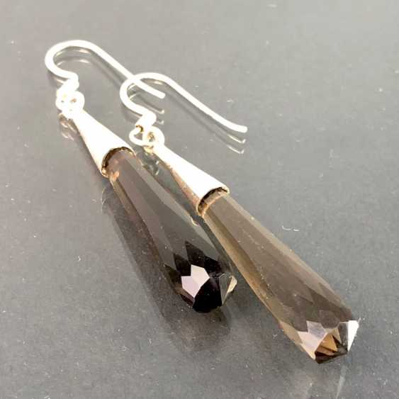 Beautiful earrings with smoky quartz. Silver. - photo 2