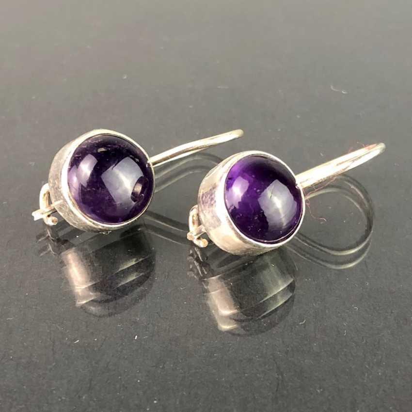 Earrings: Amethyst in silver. - photo 1