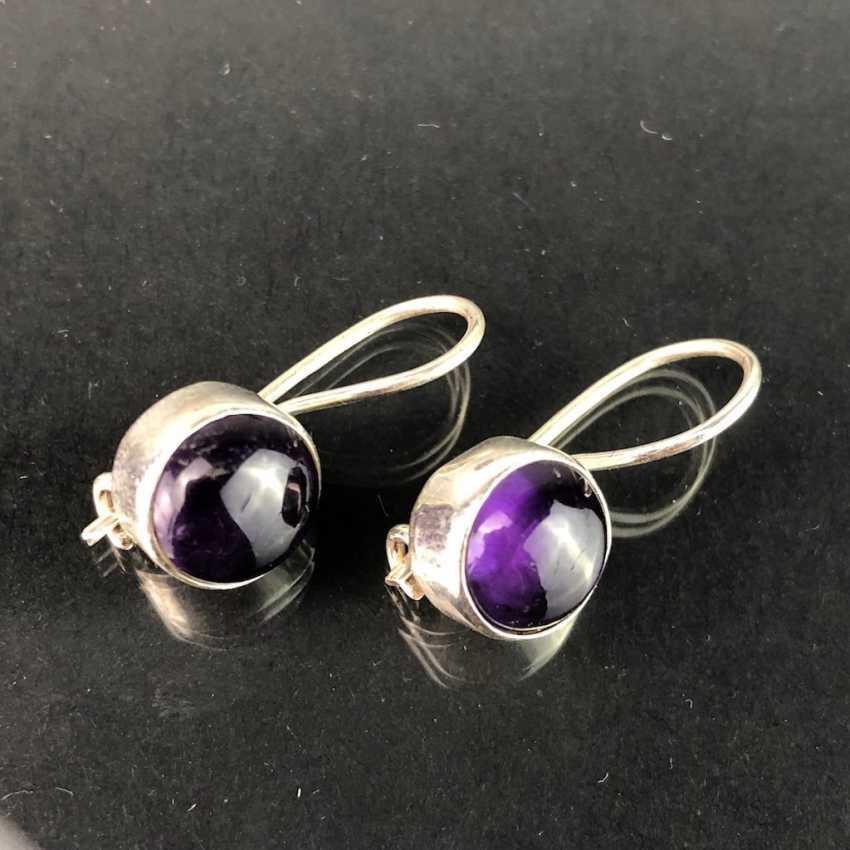 Earrings: Amethyst in silver. - photo 2