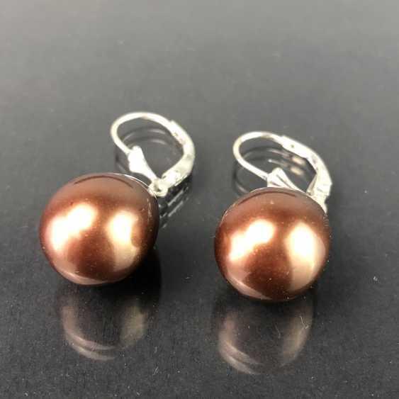 Elegant drop earrings: drop shaped pearl in Bronze. Silver. - photo 1