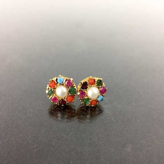 Modern stud earrings with ruby, sapphire, emerald, turquoise, coral and pearl. Silver plated. - photo 1