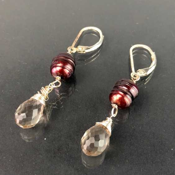 Beautiful earrings with rhinestone and pearl. Silver. - photo 1