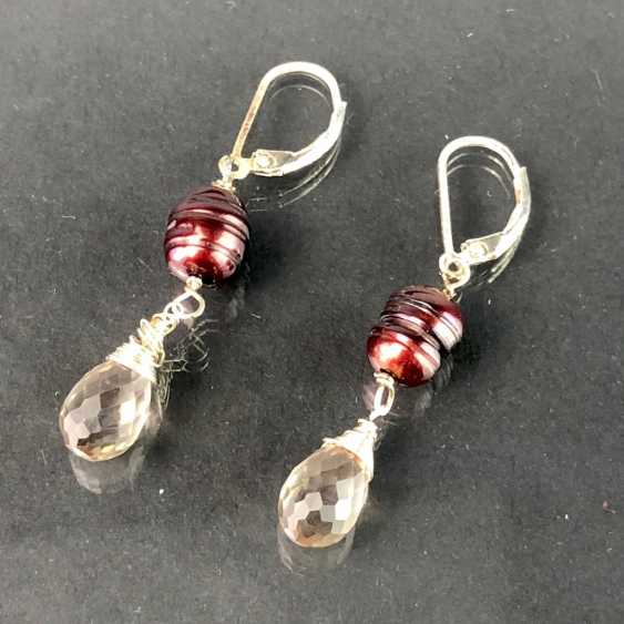 Beautiful earrings with rhinestone and pearl. Silver. - photo 2