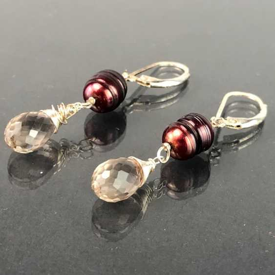 Beautiful earrings with rhinestone and pearl. Silver. - photo 3