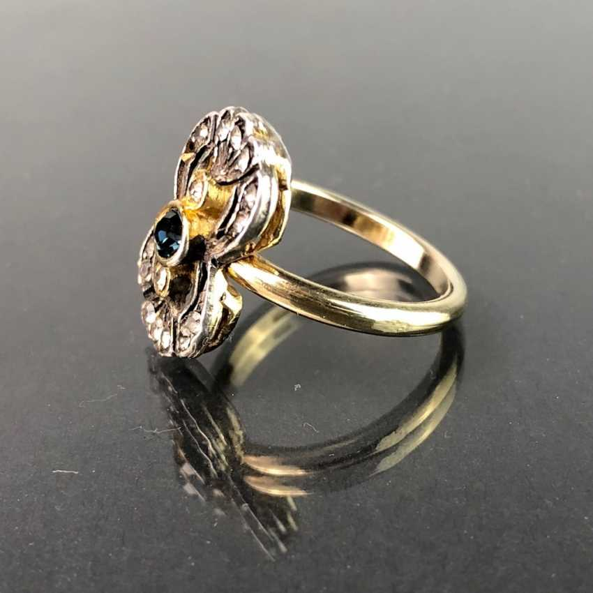 Art Nouveau-Ring: Safir and trim. Silver plated. - photo 2