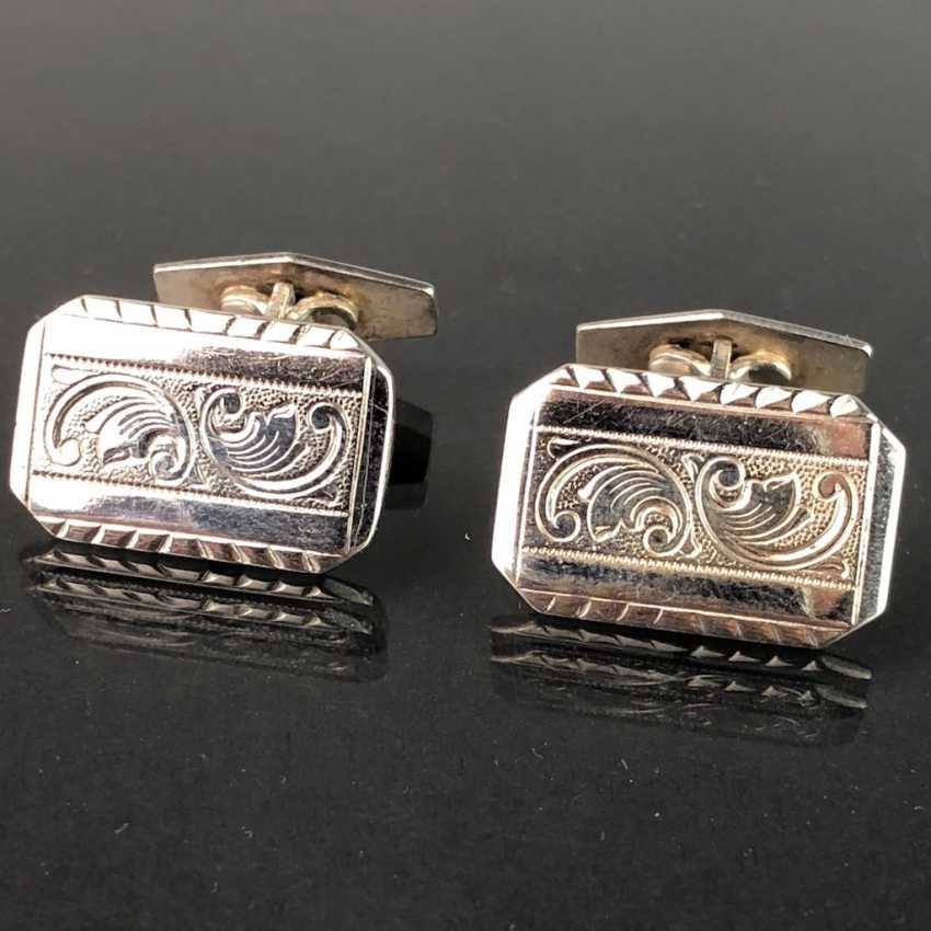Timeless cufflinks, silver 835, elegant engraving, very solid, very good. - photo 2