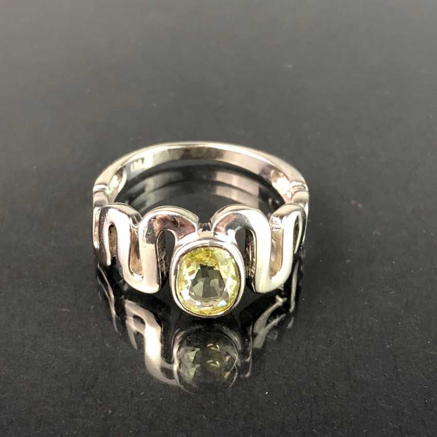 Timeless Ladies Ring: Peridot. Silver 925 rhodium-plated, very solid, very good. - photo 1