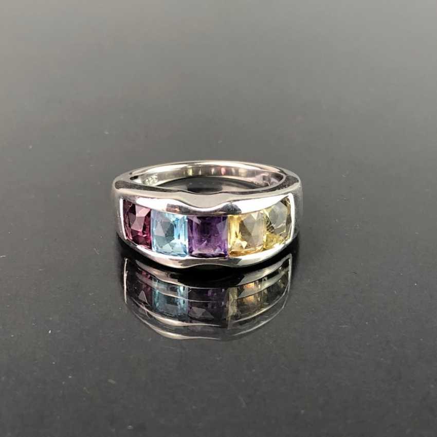 Timeless ladies ring: Topaz in Swiss blue, rhodolite, Amethyst, citrine, Peridot. Silver 925 rhodium-plated, very solid. - photo 1