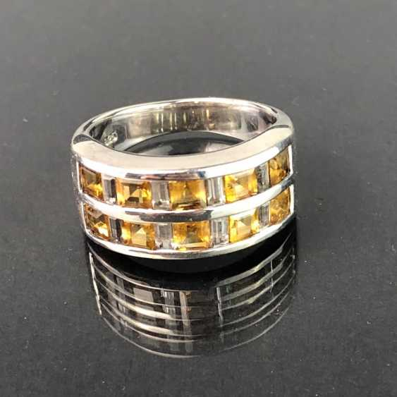 Timeless ladies ring: White Topaz, and citrine. Silver 925 rhodium-plated, very solid, very good. - photo 1