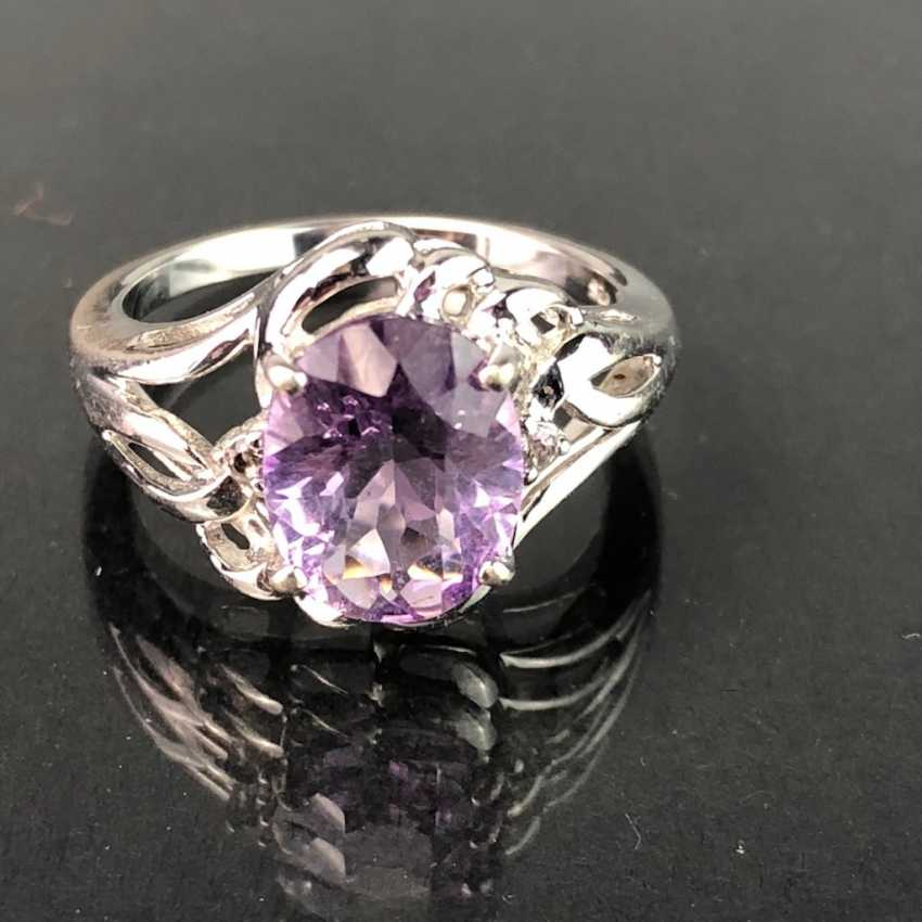 Timeless Ladies Ring: Amethyst. Silver 925 rhodium-plated, very solid, very good. - photo 1