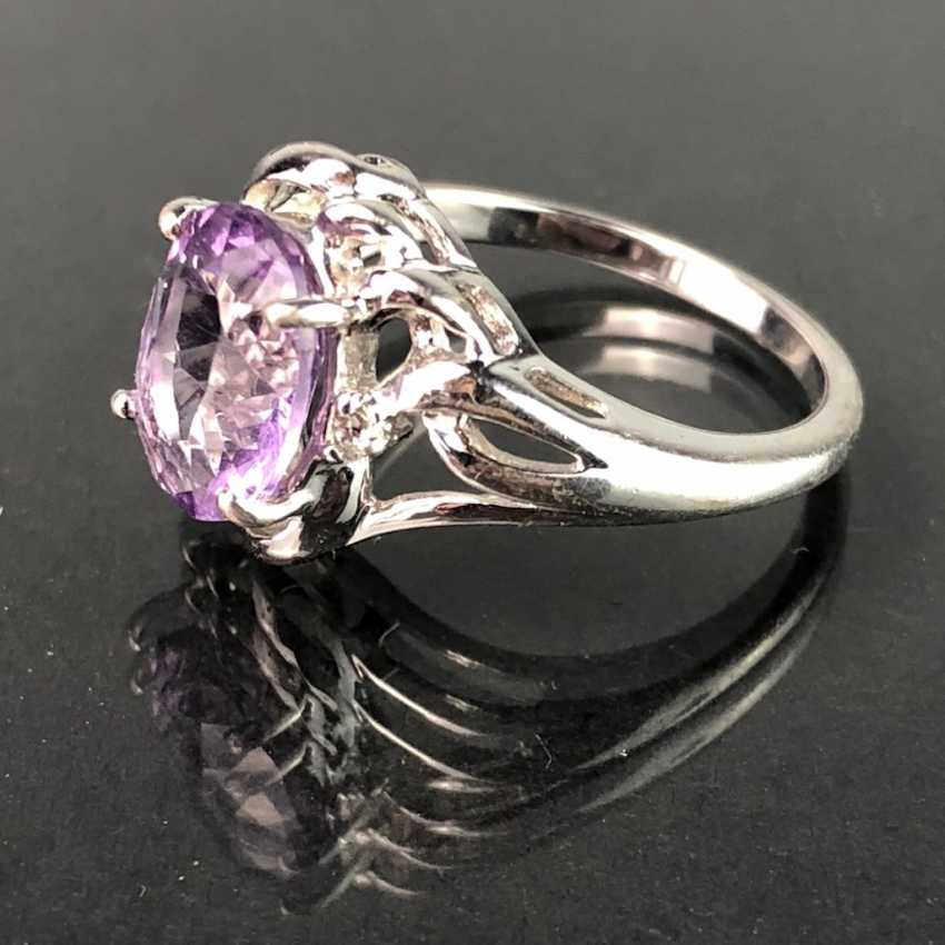 Timeless Ladies Ring: Amethyst. Silver 925 rhodium-plated, very solid, very good. - photo 2