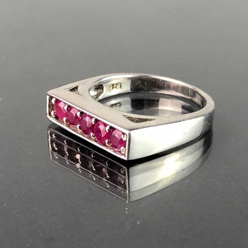 Timeless Ladies Ring: Five Rubies. Silver 925 rhodium-plated, very solid, very good. - photo 2