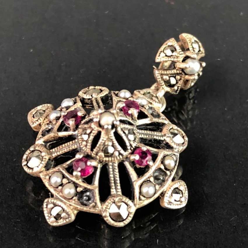 Timeless pendant: rubies, pearls, and vintage solid. 925 silver rhodium plated, very delicate, very good. - photo 1