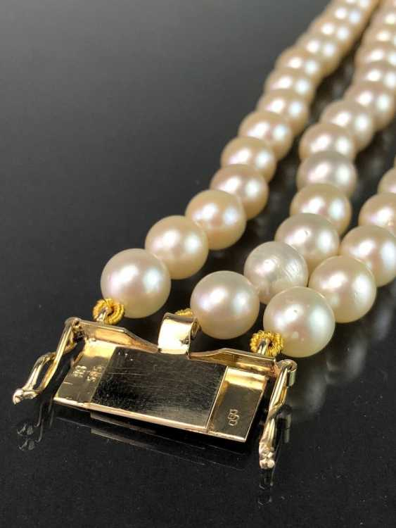 High quality bracelet: yellow gold 585, and three rows of Akoya pearls. Very good. - photo 6