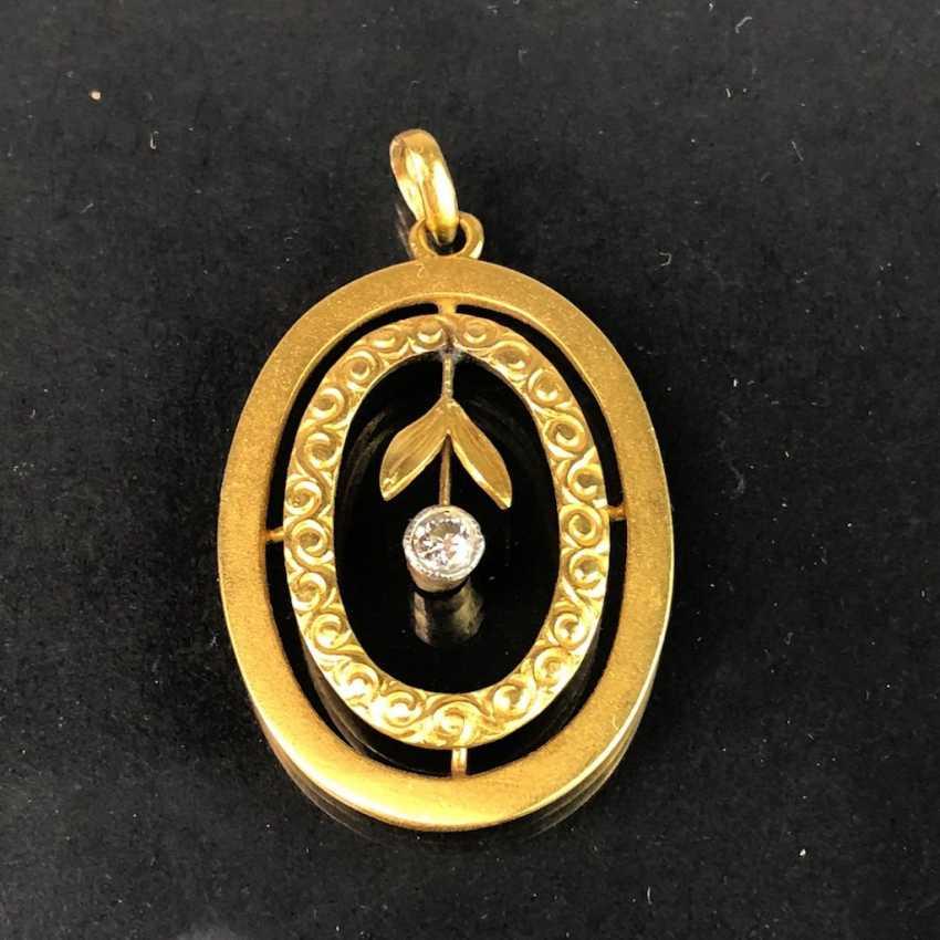 Art Nouveau Diamond Pendant: Yellow Gold 585. - photo 1
