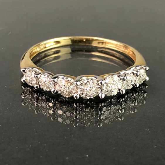 Ladies Ring / half eternity Ring: yellow gold and white gold 585, total 0.75 carats, very good. - photo 1