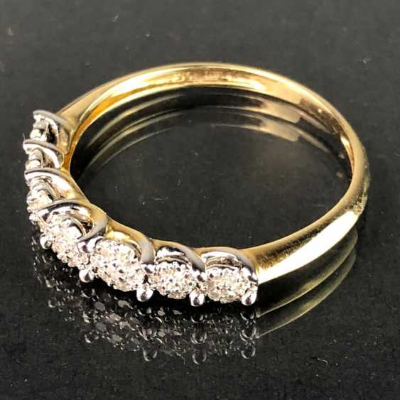 Ladies Ring / half eternity Ring: yellow gold and white gold 585, total 0.75 carats, very good. - photo 2